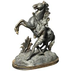"""""""Horse Tamer"""" Sculpture in Spelter Metal after Chevaux de Marly"""