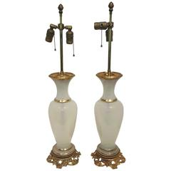 Pair of Neoclassical French Opaline Lamps Mounted on Gilt Bronze Bases