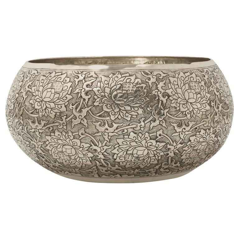 Large Hand-Worked Solid Silver Bowl, Chinoiserie Scrolling Lotus, Centrepiece For Sale