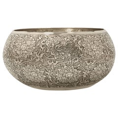 Large Hand-Worked Solid Silver Bowl, Chinoiserie Scrolling Lotus, Centrepiece