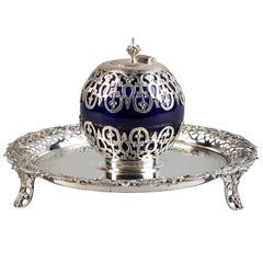 English Victorian Silver and Blue Glass Inkwell