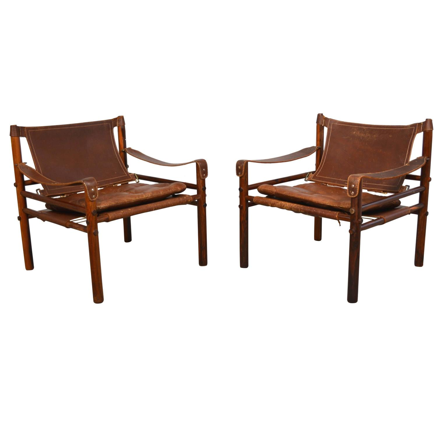 """Pair of Arne Norell """"Sirocco"""" Leather Safari Chairs at 1stdibs"""