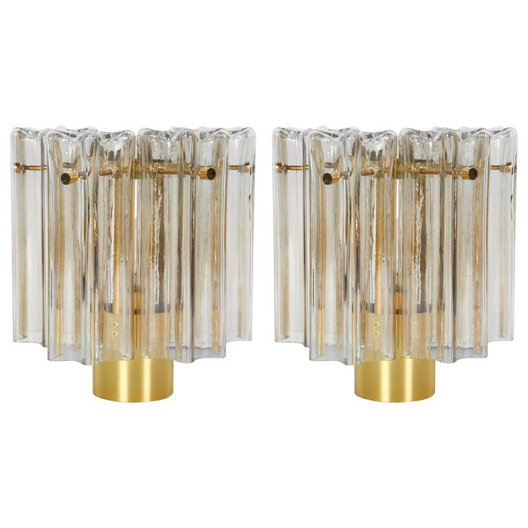 Pair of Mid-Century Modern Venini Glass Sconces by Limburg For Sale