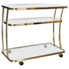 Dia Three-Tier Brass and Glass Bar, Drinks, Tea or Service Cart /Trolley