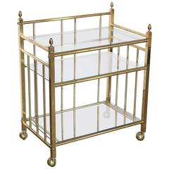 Three-Tier Brass and Glass Bar, Drinks and Tea Cart, or Server