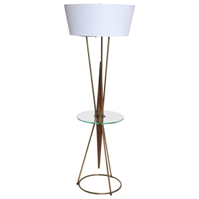 Gerald Thurston for Lightolier Walnut, Brass and Glass Floor Lamp, Side Table