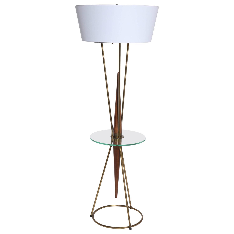 walnut brass and glass side table floor lamp for sale at 1stdibs. Black Bedroom Furniture Sets. Home Design Ideas