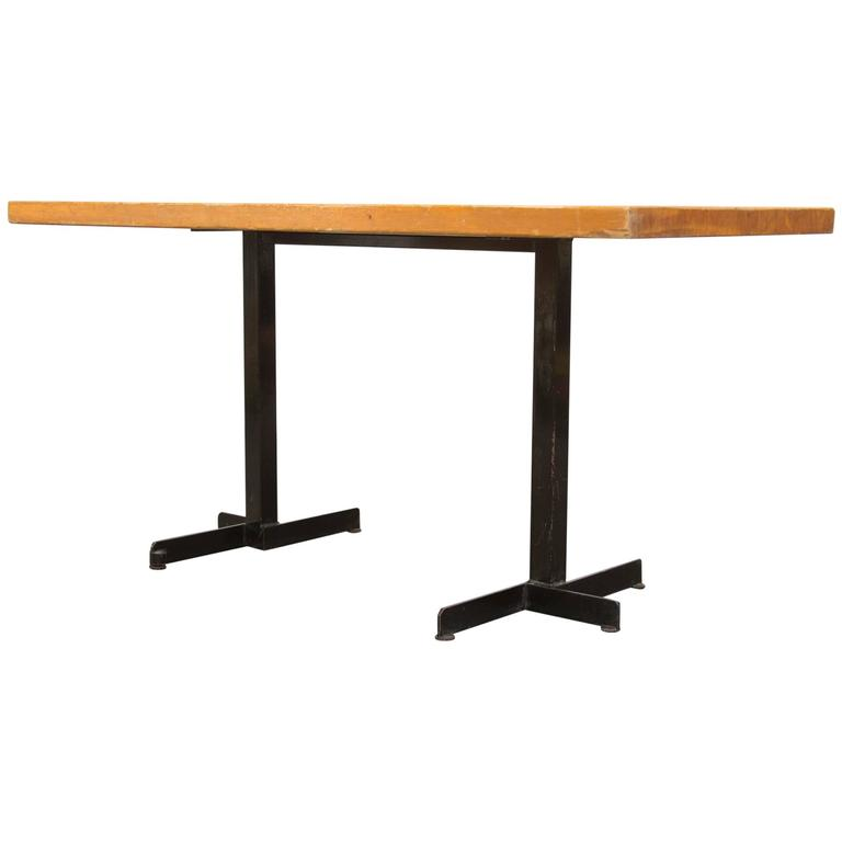 pine and black metal frame charlotte perriand table for les arcs at 1stdibs. Black Bedroom Furniture Sets. Home Design Ideas