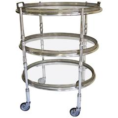 French Silver Plated Three-Tier Bar Serving Cart