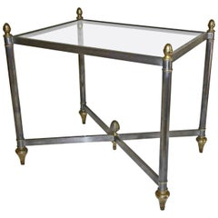 Italian Jansen Style Steel Brass Side or End Table