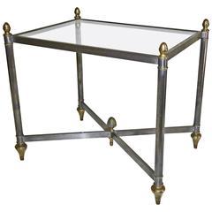 Italian Jansen Style Steel Brass Side or End Table