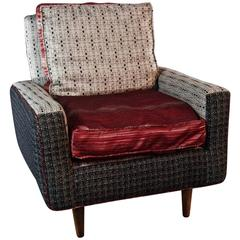 Mid-Century Knoll Armchair in Gray Wool with Red Satin Seat--in stock