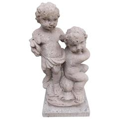 English Crushed Stone Figural Puttis and Dolphin Statue, Circa 1880