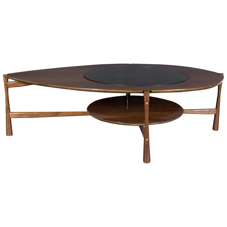 Sculptural Mid Century Teardrop Cocktail Table In Walnut And Smoked Glass At 1stdibs