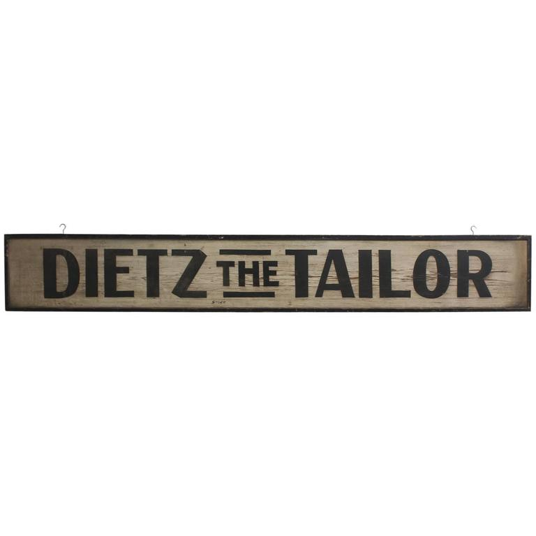 1900s Hand-Painted Wood Sign the Tailor