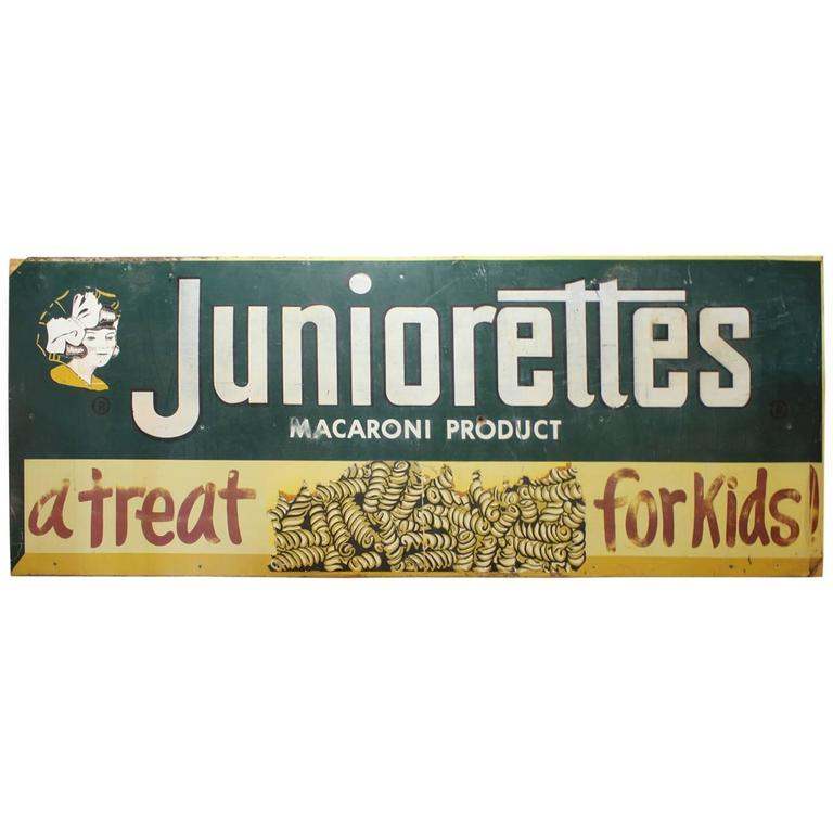 """Large 1920s Metal Advertising Sign """"Juniorettes"""""""