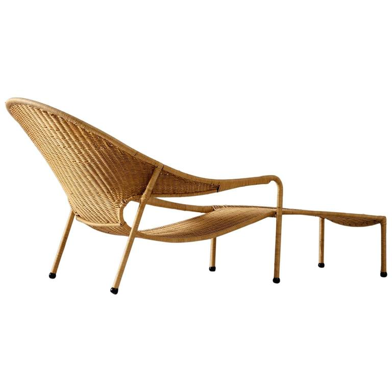 Francis mair wicker chaise longue california us 1960s for Chaise longue rattan
