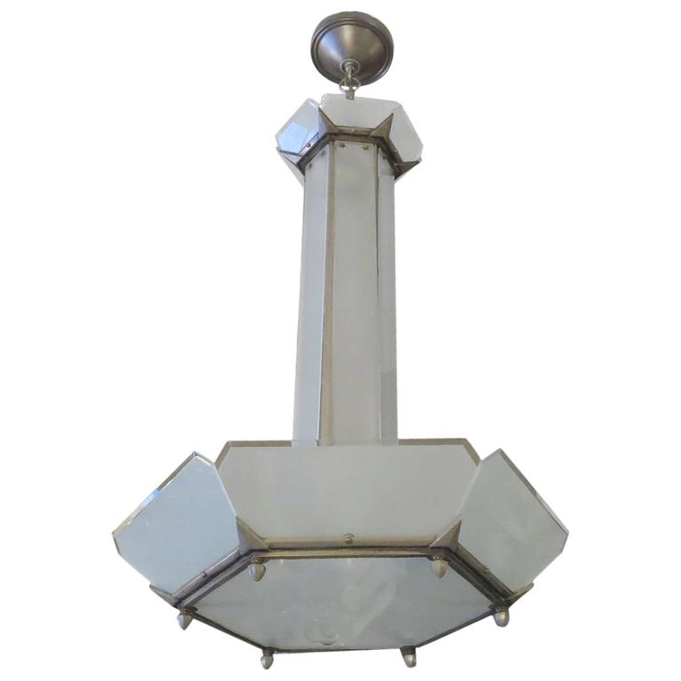 Art Deco Hanging Chandelier in Frosted Glass and Nickeled Bronze