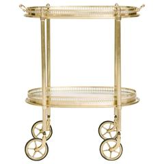 French Brass Oval Bar Cart