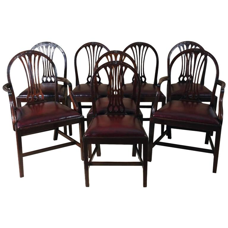 set of eight mahogany hepplewhite style dining chairs for sale at