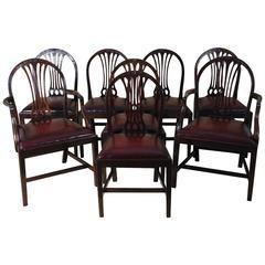 Set of Eight Mahogany Hepplewhite Style Dining Chairs
