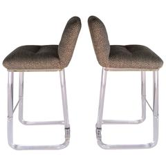 Pair of Lion in Frost Swivel Bar Stools in Lucite, circa 1970s