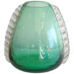 Ercole Barovier Murano Glass Vase with Ferro Toso
