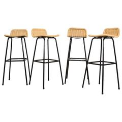 Set of Four Charlotte Perriand Style Bar Stools