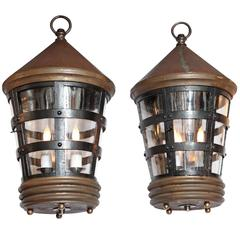 Pair of Conical Top Lanterns