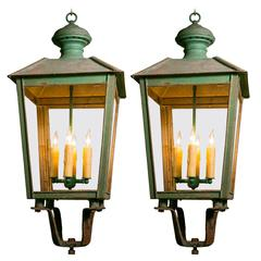 Pair of Vintage FrenchTole Lanterns with Glass Panels