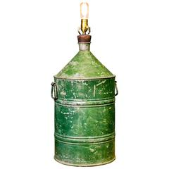 Rustic Painted Galvanized Vessel as Lamp