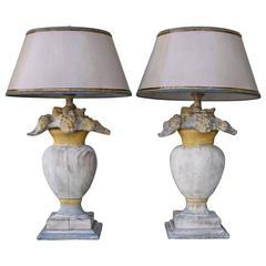 Pair of Italian Painted Floral Urn Lamps w/ Custom Shades