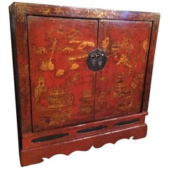 Chinese Export Red Lacquer Credenza