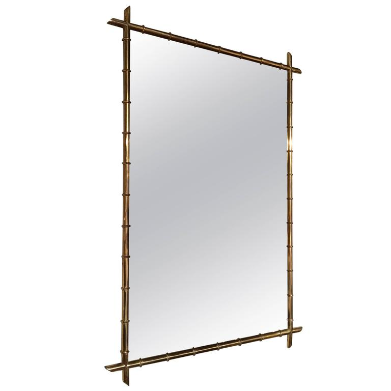 Billy Haines Style Faux Bamboo Brass Mirror For Sale