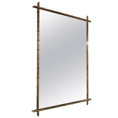 Hollywood Regency Faux Bamboo Brass Mirror