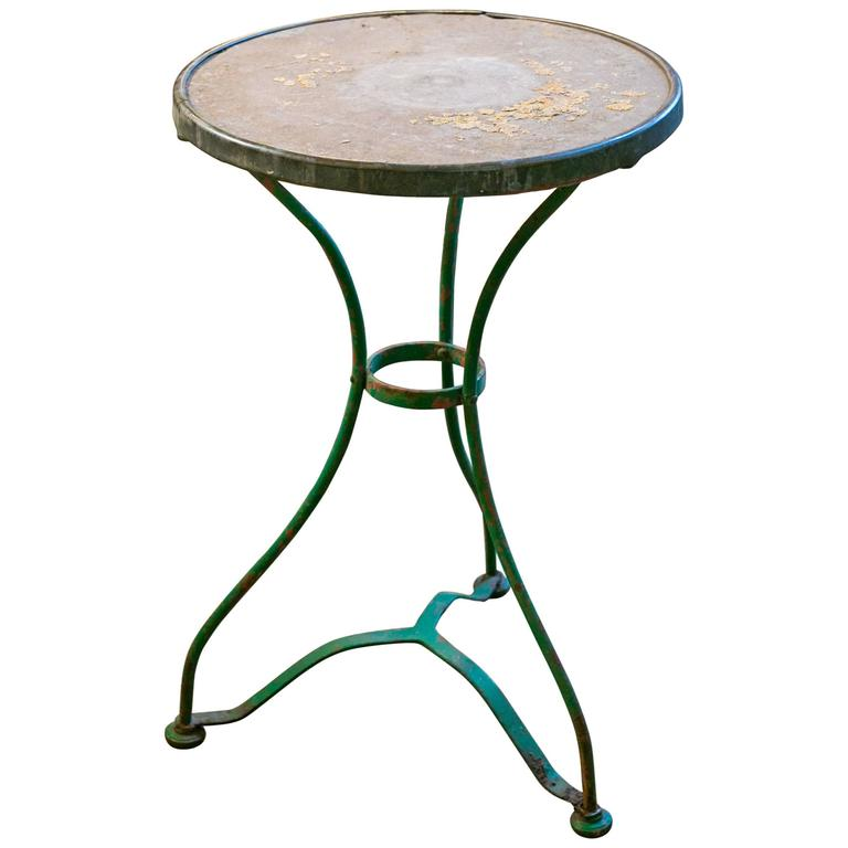 Vintage French Iron Bistro Table With Marble Top 1