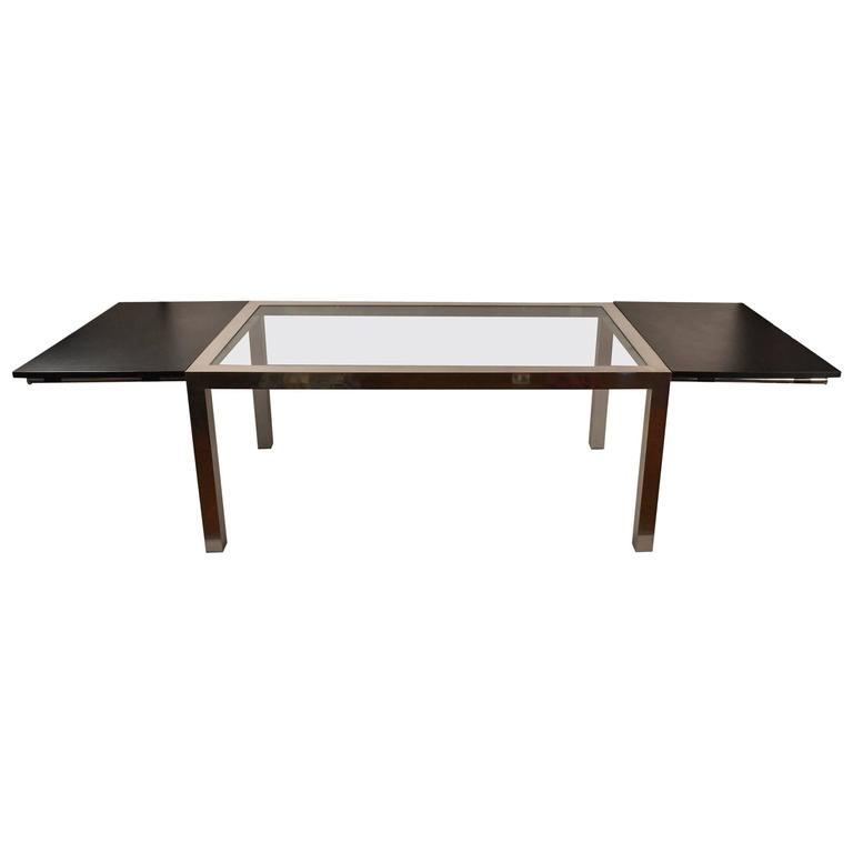 Aluminum base parsons dining table with black formica for Black dining table with leaf