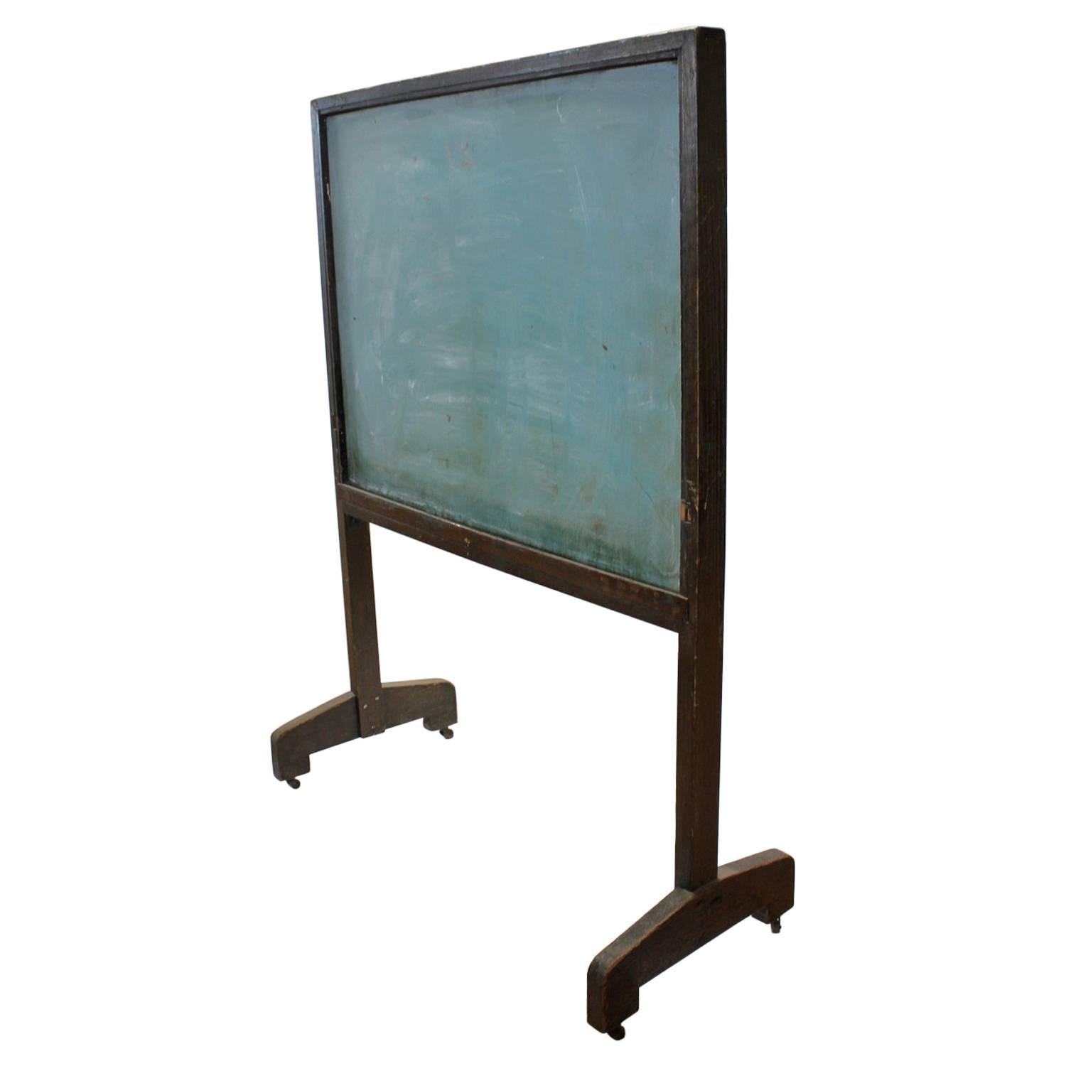 antique american school floor double sided chalkboard With parquet double face