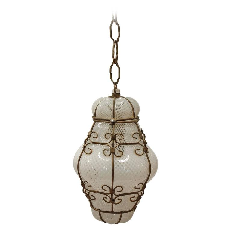 vintage seguso murano white glass cage pendant light 2. Black Bedroom Furniture Sets. Home Design Ideas