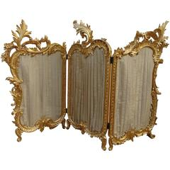 Fire Screen, Louis XV, Rocaille, Gilt Carved Wood