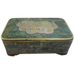 Jewelry Box in Married Metals with Inlaid Turquoise Attr. Los Castillo late 50s