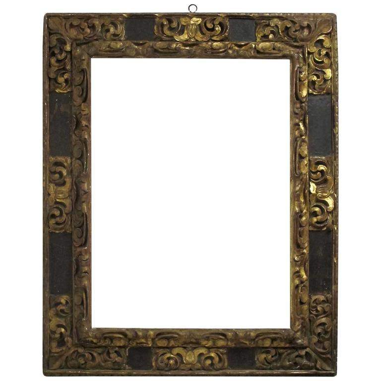 18th Century Venetian Gilt Carved And Polychrome Frame For Sale At