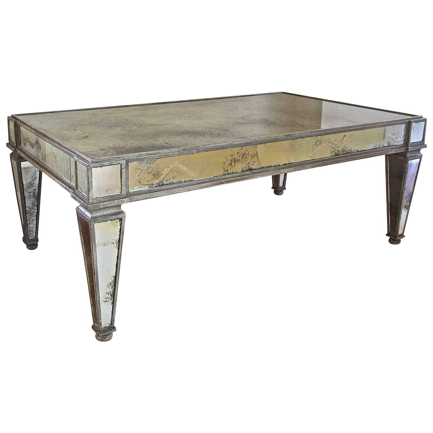 French Style Antiqued Mirror Cocktail Coffee Table For Sale At 1stdibs