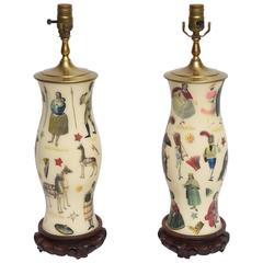 Pair of Whimsical Decoupage Lamps with Spanish Colonial Theme