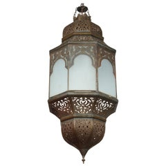 Moroccan Moorish Hanging Lantern with Milky Glass