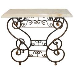 19th Century French Iron and Marble Baker's Table