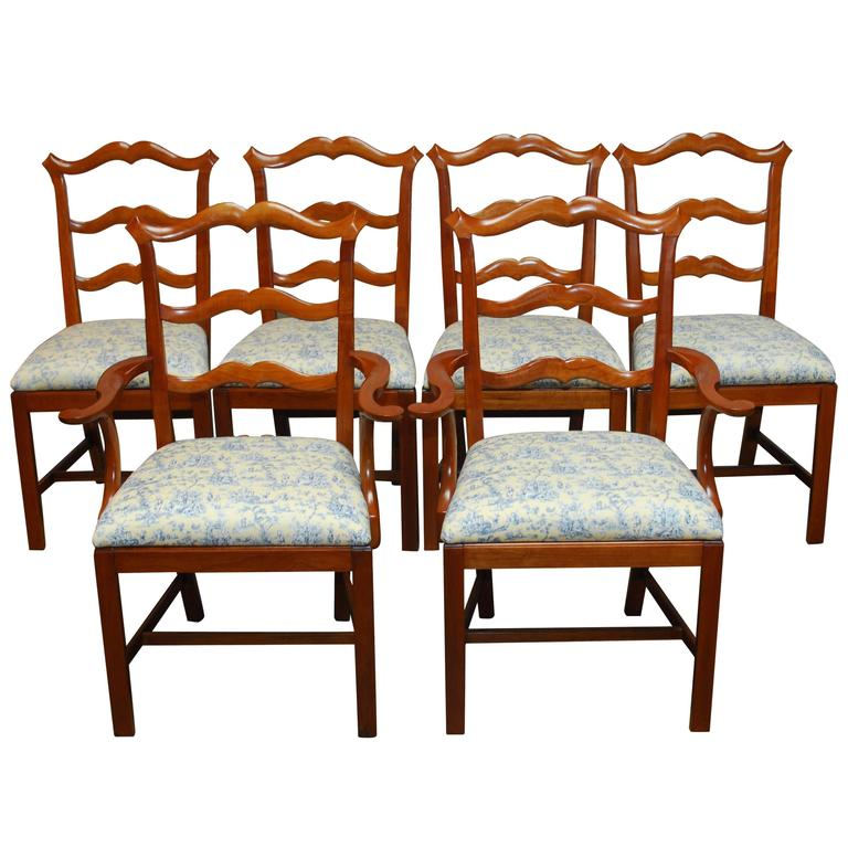 Chippendale ladder back toile dining chairs for sale at 1stdibs - Ladder back dining room chairs ...
