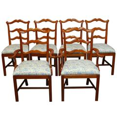 Chippendale Ladder Back Toile Dining Chairs