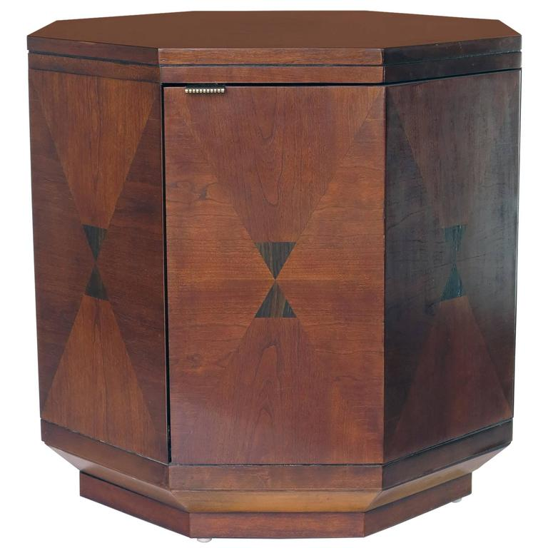Vintage Henredon Inlaid Wood Octagon Cabinet With Interior Shelf For Sale