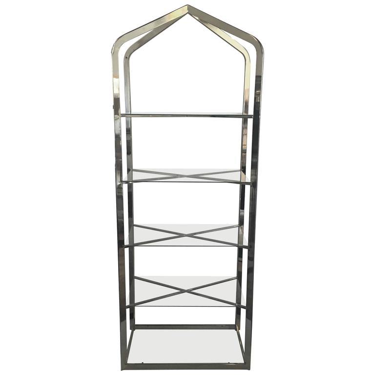 Mid-Century Modern Brass and Glass Pagoda Etagere